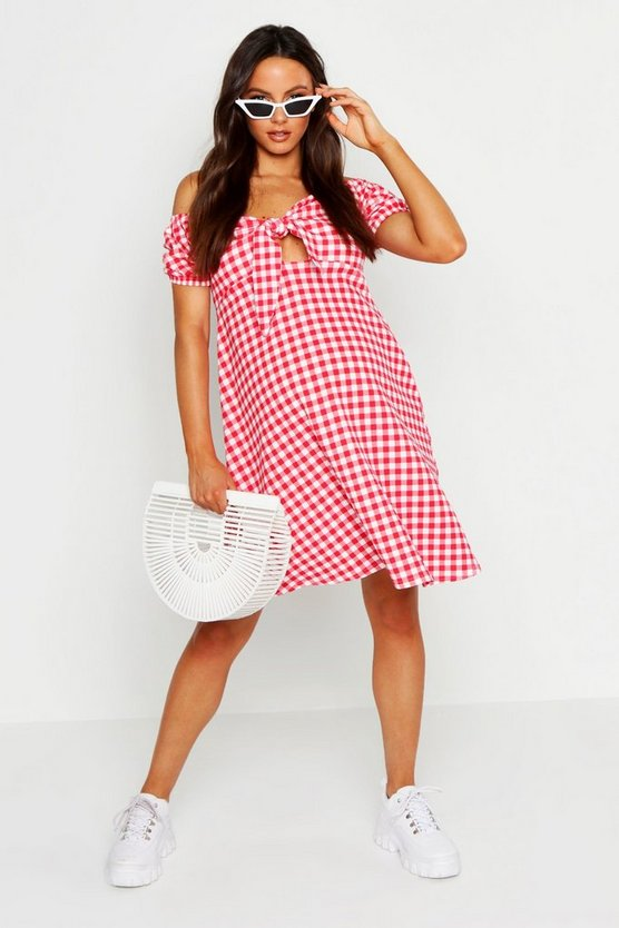 Womens Red Maternity Tie Front Gingham Print Dress
