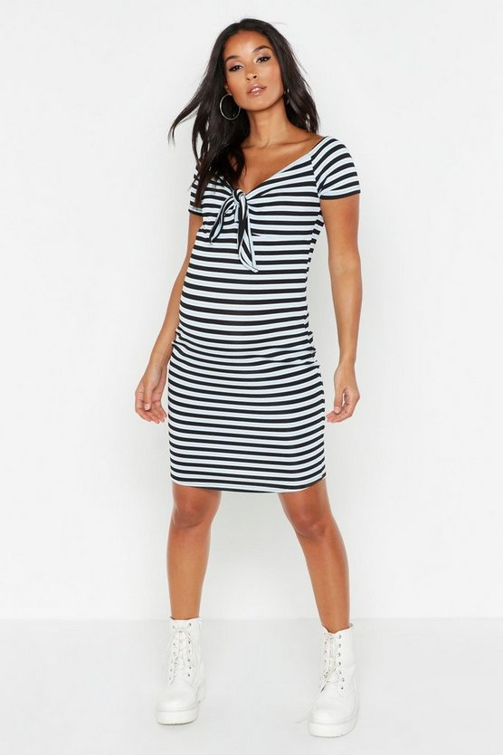 Womens Blue Maternity Tie Front Stripe Bodycon Dress