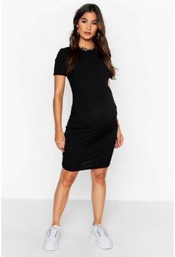 Womens Black Maternity Basic Rib Bodycon Dress