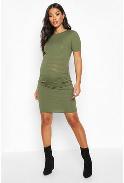 Khaki Maternity Basic Rib Bodycon Dress