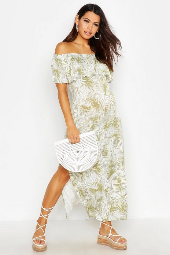 Womens Green Maternity Tropical Print Off The Shoulder Maxi