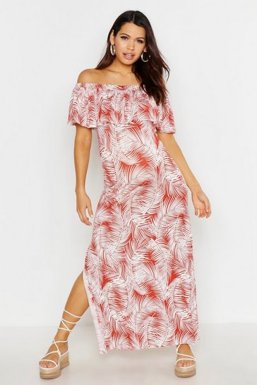 Womens Rust Maternity Tropical Print Off The Shoulder Maxi