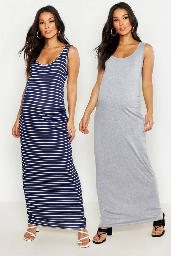 Womens Multi Maternity 2 Pack Plain And Stripe Maxi 2 Pack
