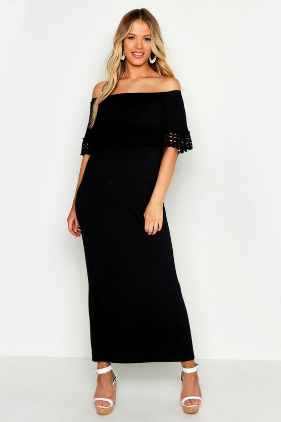 Womens Black Maternity Bardot Crochet Trim Maxi Dress