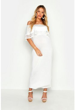 White Maternity Bardot Crochet Trim Maxi Dress