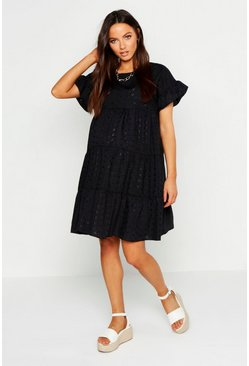 Womens Black Maternity Broderie Anglaise Smock Dress