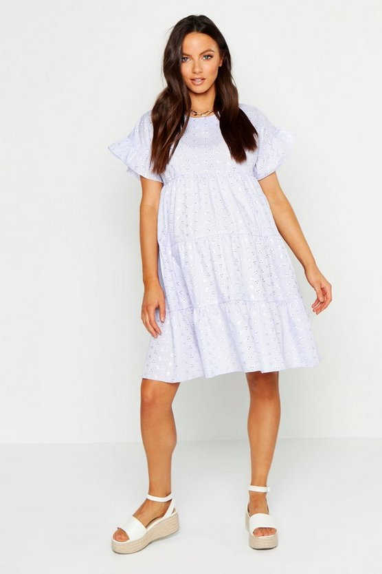 Womens Lilac Maternity Broderie Anglaise Smock Dress