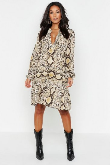 Womens Tan Maternity Snake Print Woven Smock Dress