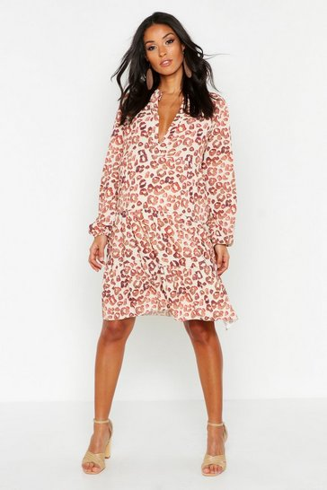 White Maternity Leopard Print Smock Dress