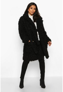 Womens Black Maternity Teddy Faux Fur Wrap Coat