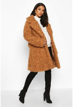 Toffee Maternity Teddy Faux Fur Wrap Coat