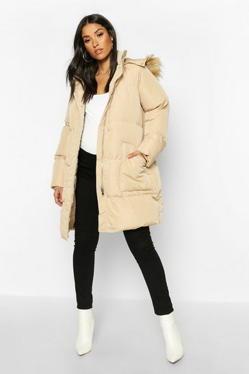 Womens Caramel Maternity Faux Fur Trim Padded Jacket