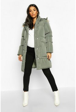 Grey Maternity Faux Fur Trim Padded Jacket