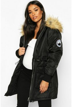 Womens Black Maternity Faux Fur Trim Parka Coat
