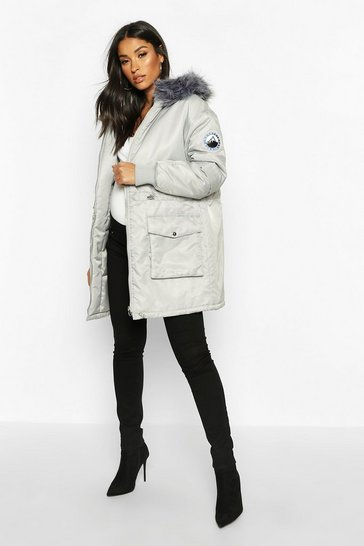 Womens Grey Maternity Faux Fur Trim Parka Coat