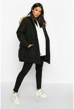 Black Maternity Tie Waist Padded Jacket