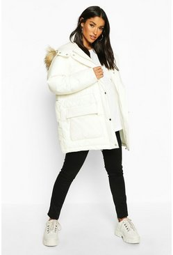 White Maternity Tie Waist Padded Jacket