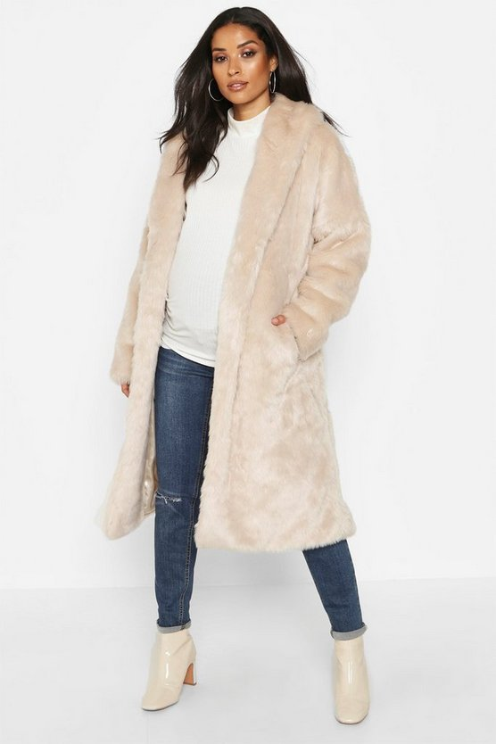 Womens Cream Maternity Faux Fur Wrap Belted Coat