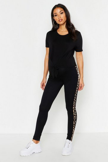 Womens Black Maternity Leopard Side Stripe Legging