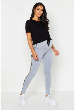 Womens Light grey Maternity Leopard Side Stripe Legging
