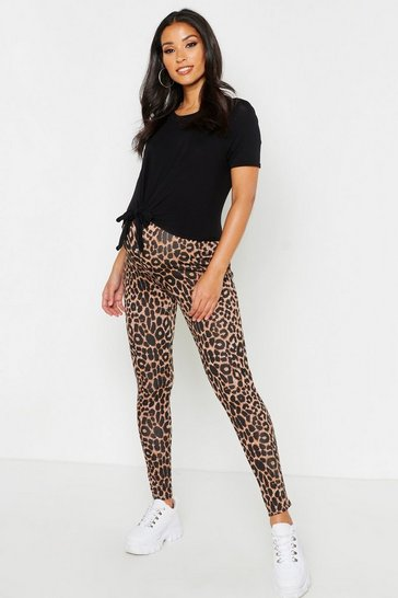 Womens Tan Maternity Leopard Print Legging