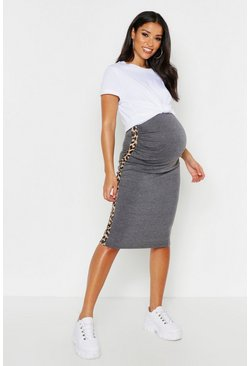 Womens Charcoal Maternity Leopard Side Stripe Midi Skirt