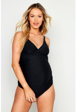Womens Black Maternity Tankini Set