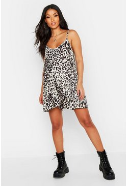 Womens Tan Maternity Leopard Print Swing Playsuit