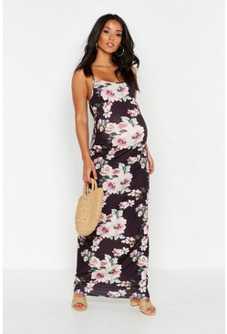 Womens Black Maternity Floral Maxi Dress
