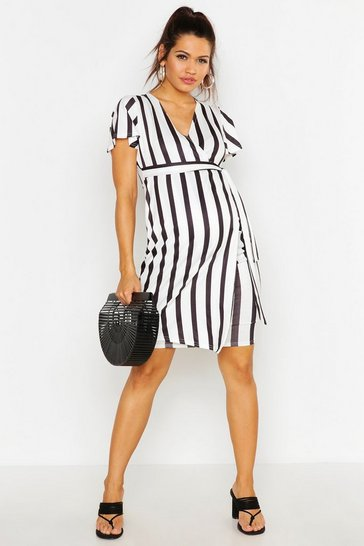Womens White Maternity Stripe Wrap Dress
