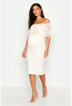 Womens Nude Maternity Bardot Lace Bodycon Dress