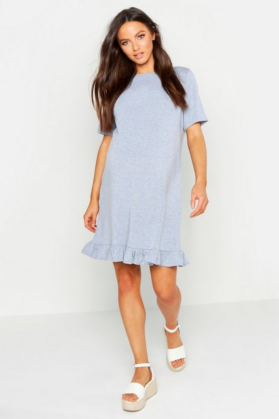 Womens Grey marl Maternity Frill Hem T-Shirt Dress