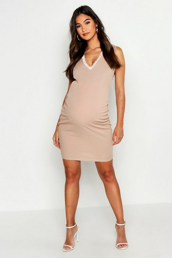 Womens Sand Maternity Lace Trim V Neck Bodycon Dresss