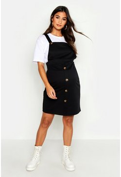 Womens Black Maternity Horn Button Pinafore Dress