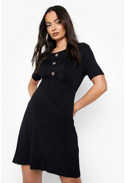 Womens Black Maternity Horn Button Smock Dress