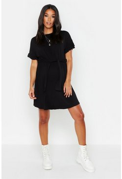 Womens Black Maternity Tie Waist Ruffle T-Shirt Dress