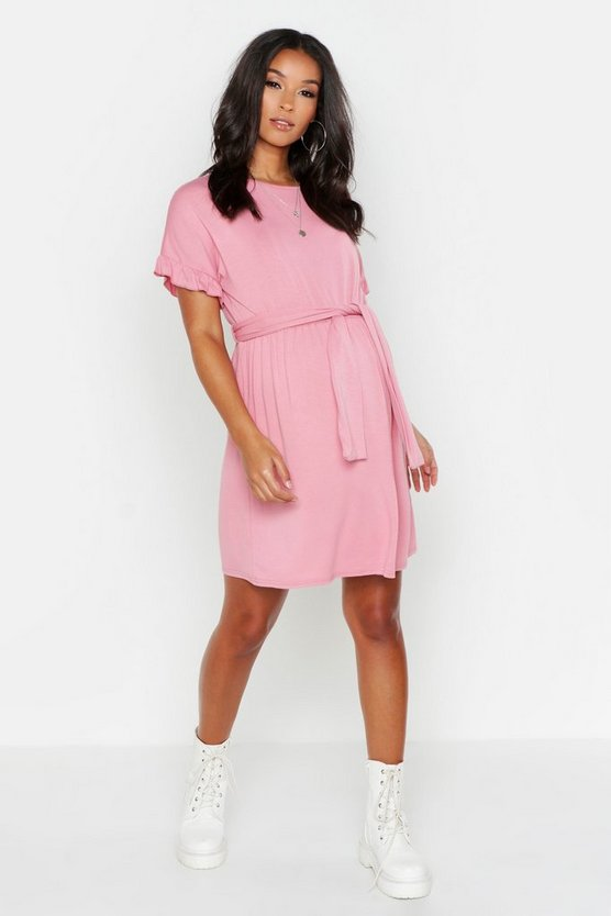 Womens Dusky pink Maternity Tie Waist Ruffle T-Shirt Dress