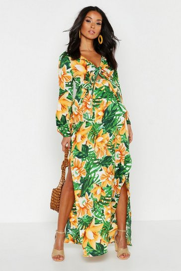 Womens Green Maternity Tie Front Palm Print Midi Dress