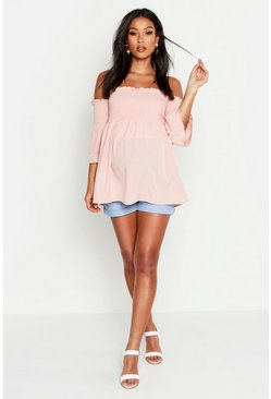 Womens Nude Maternity Shirred Flute Sleeve Smock Top