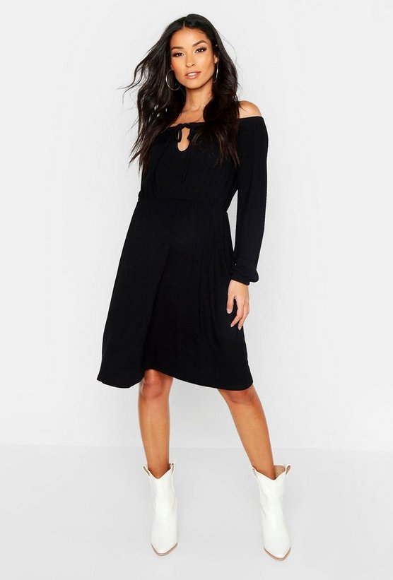 Womens Black Maternity Off The Shoulder Skater Dress