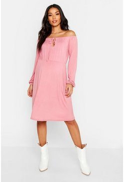 Womens Dusky pink Maternity Off The Shoulder Skater Dress