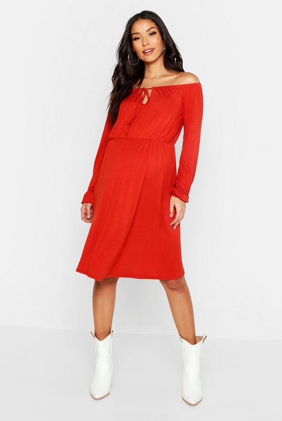 Womens Rust Maternity Off The Shoulder Skater Dress
