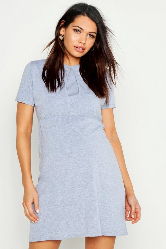 Womens Light grey Maternity Nursing Smock Dress