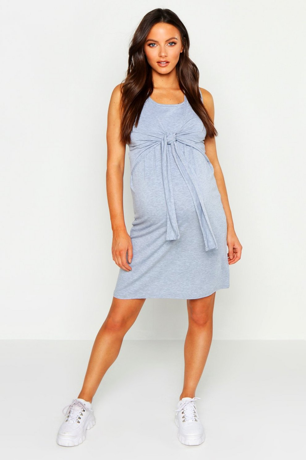 e6fd79180dd Maternity Tie Front Nursing Midi Dress | Boohoo