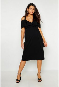 Womens Black Maternity Ruffle Wrap Midi Dress
