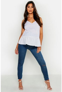 Womens Light blue Maternity Slit Knee Jegging
