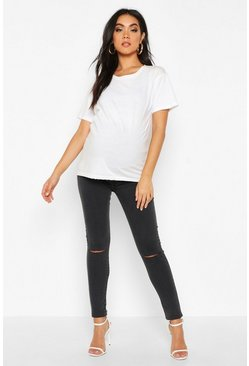 Womens Grey Maternity Vintage Wash Slit Knee Jean