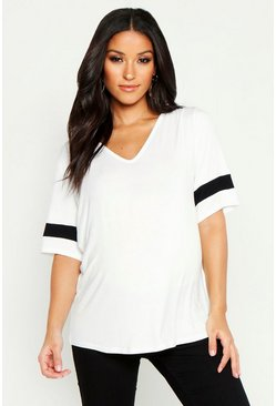 White Maternity Sports Stripe Oversized Tee