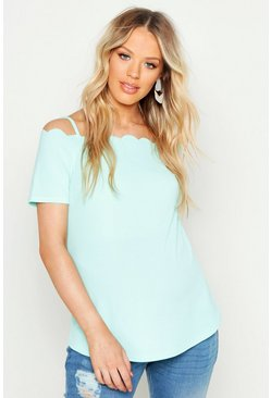 Mint Maternity Scallop Cold Shoulder Cami