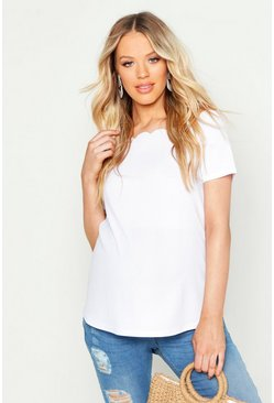 White Maternity Scallop Cold Shoulder Cami